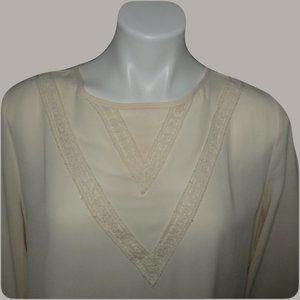 Anthropologie Monteau Women's Lace Top Cream Large